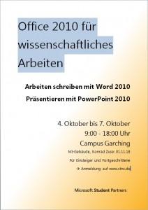 Plakat zum Office-Workshop in München vom 4. auf den 7. Oktober 2011